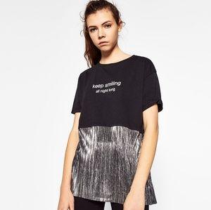 [Zara Trafaluc] Graphic Black & Silver Blouse Top